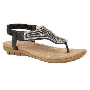 Lotus Womens Delia Black Flat Toe-Post Sandals